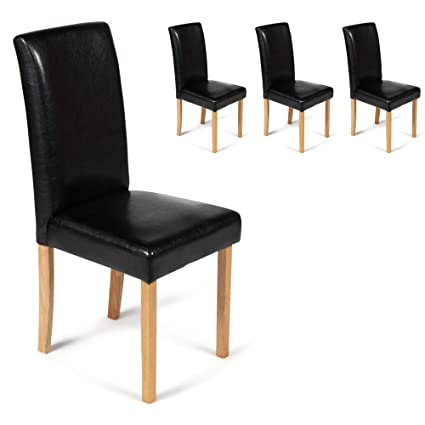 Wondrous Your Price Furniture Com Set Of 4 Faux Leather Torino Dining Chairs Black With Padded Seat Oak Finish Legs Andrewgaddart Wooden Chair Designs For Living Room Andrewgaddartcom