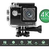 """TEC.BEAN - Minivideocamera 4K - Display FHD LCD 2"""" - Impermeabile e WIFI Incorporato - Batterie e Accessori Inclusi"""