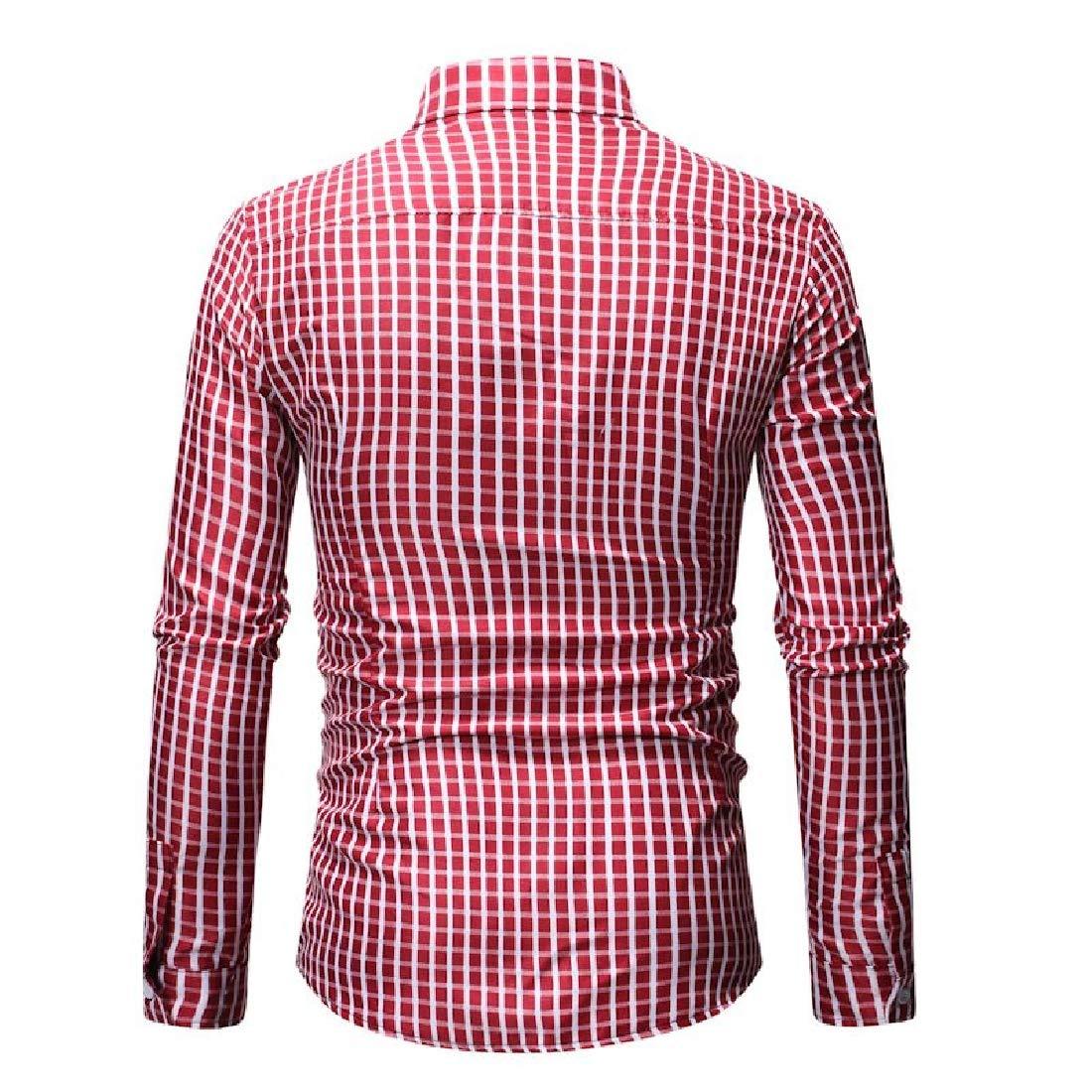 Vska Mens Spring Long-Sleeve Plaid Casual Trim-Fit Lapel Shirt
