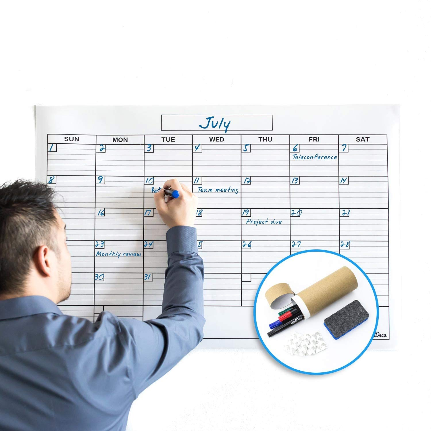 Jumbo Large Dry Erase Wall Monthly Calendar Planner Whiteboard: Wipe Off  Erasable Calendar with Bonus Hanging Kit | WallDeca, Use in Classroom,