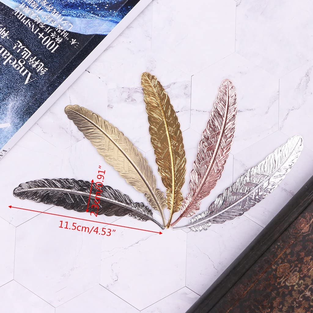 MEIYIN Creative Retro Feather Shaped Metal Bookmark Page Marker for Books Office School