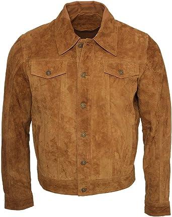 Infinity Camionero de Hombres Bronceado Casuales Jeans Camisa de Cuero Gamuza de Cabra Jacke: Amazon.es: Ropa y accesorios