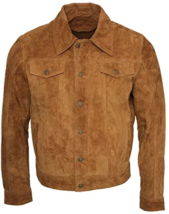 a65a017f8 Men'S Trucker Casual Tan Goat Suede Leather Shirt Jeans Jacket