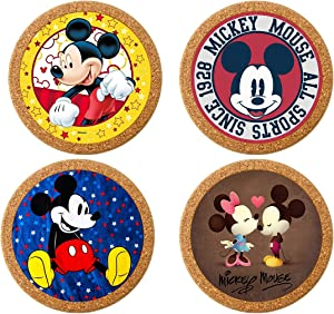 Surmoler Coasters for Drinks 4 inches Drink Coaster (4-Piece Set)Round Natural Cork Coasters 0.4 inches Thick Heat-Resistant Reusable Saucers for Drinks (Mickey)