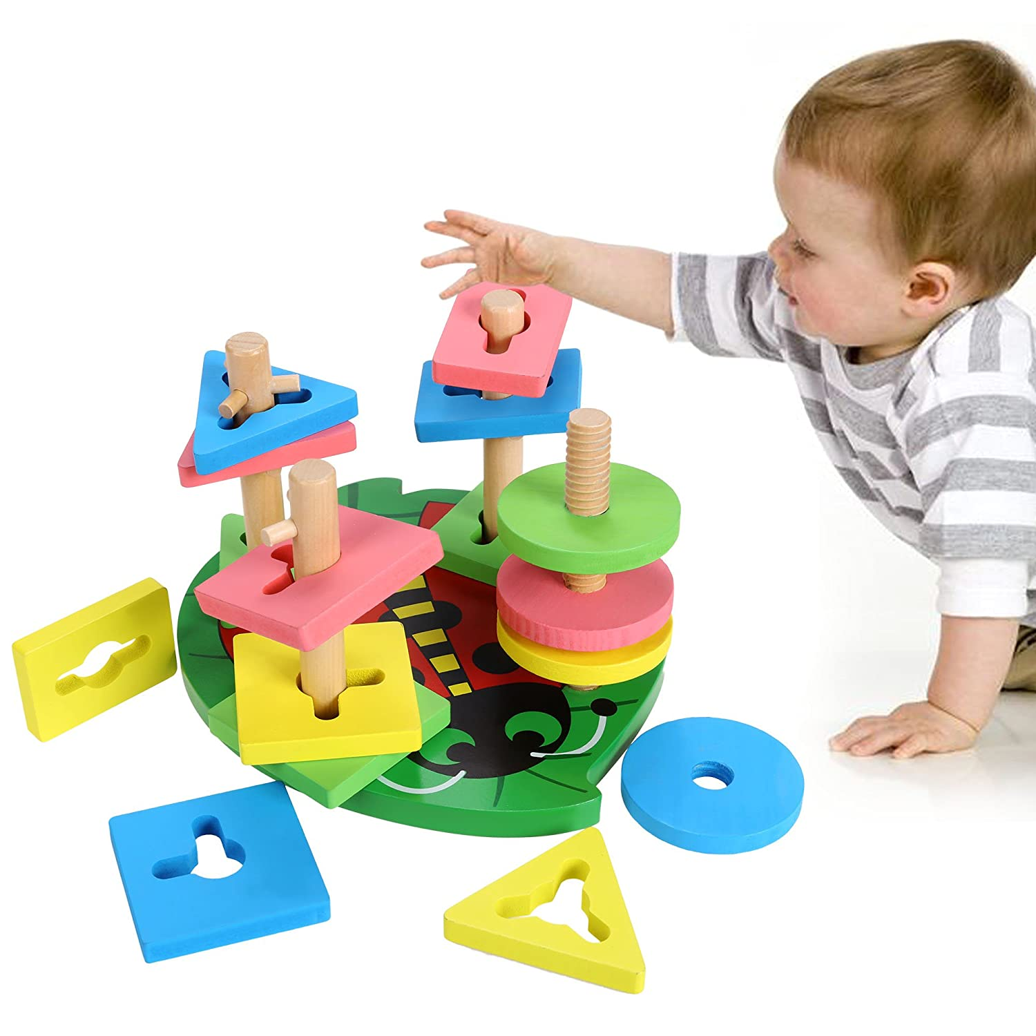 Arshiner Stacking Wooden Sorter Toys Wooden Geometric Shaped And