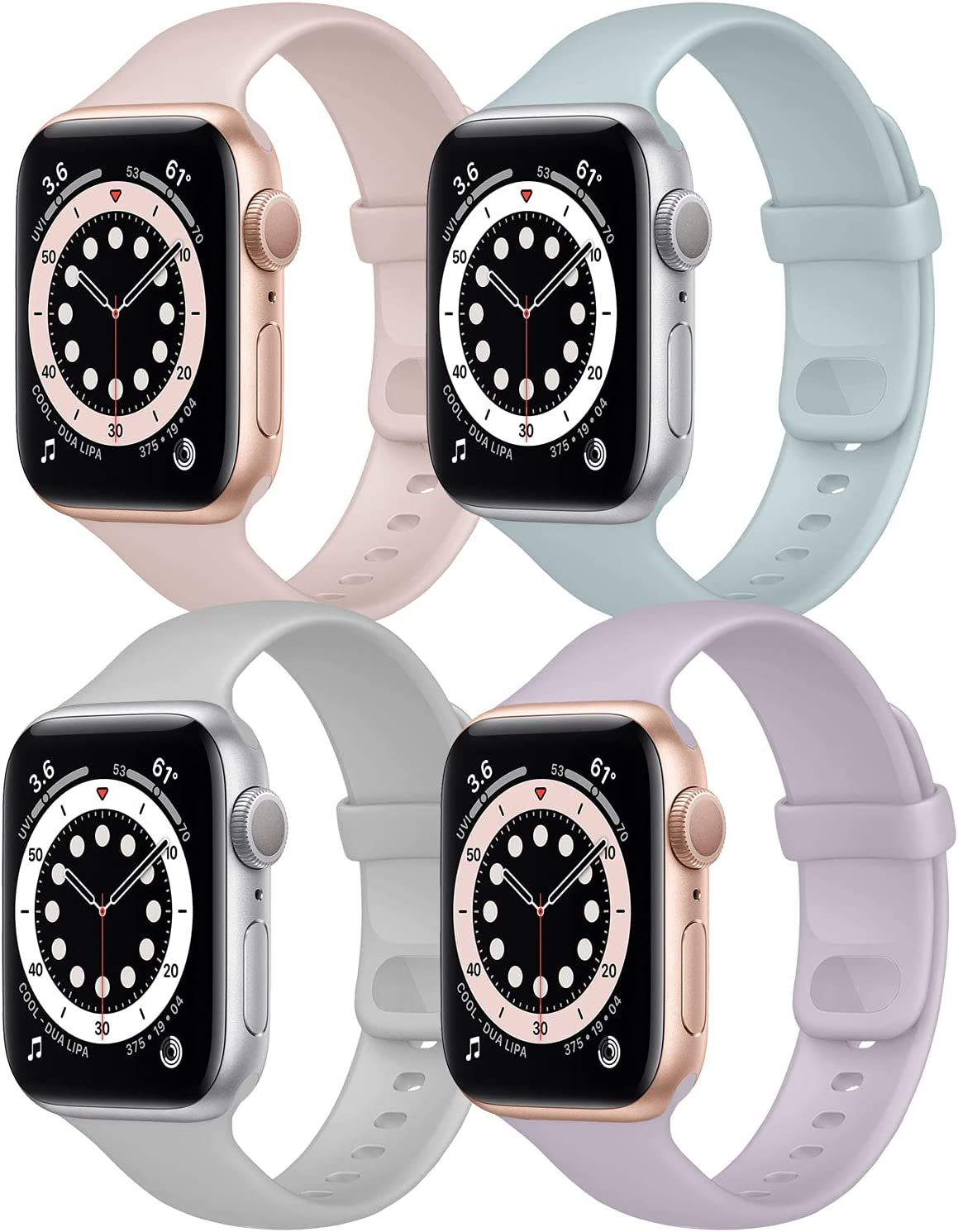 Hotflow 4 Pack Compatible with Apple Watch Bands 38mm 40mm for Women Men,Soft Silicone Sport Replacement Strap Compatible for iWatch Series SE 6 5 4 3 2 1(Lavender/Pink Sand/Turquoise/Fog,Size-S/M)