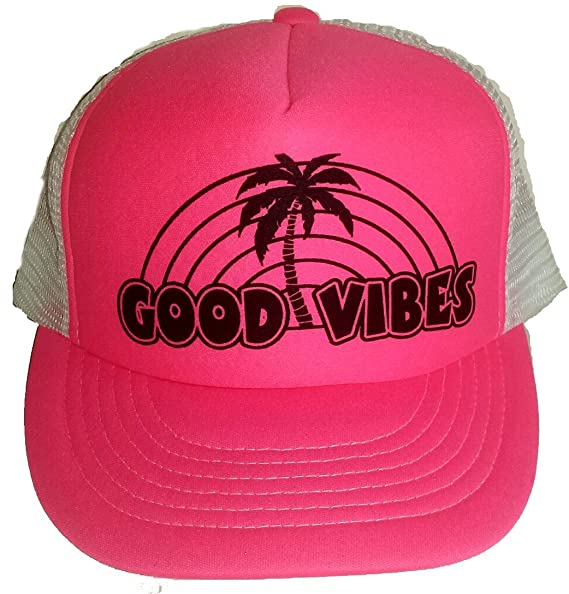 576f9ed2a Amazon.com: Neon Pink Good Vibes Mesh Trucker Hat Cap Snapback Beach ...