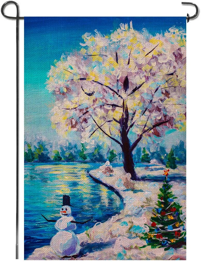 Shmbada Winter Snowman Christmas Tree Burlap Garden Flag, Premium Material Double Sided, Seasonal Home Decor Outdoor Decorative Small Flags for Yard Lawn Patio Porch Farmhouse, 12 x 18 Inch