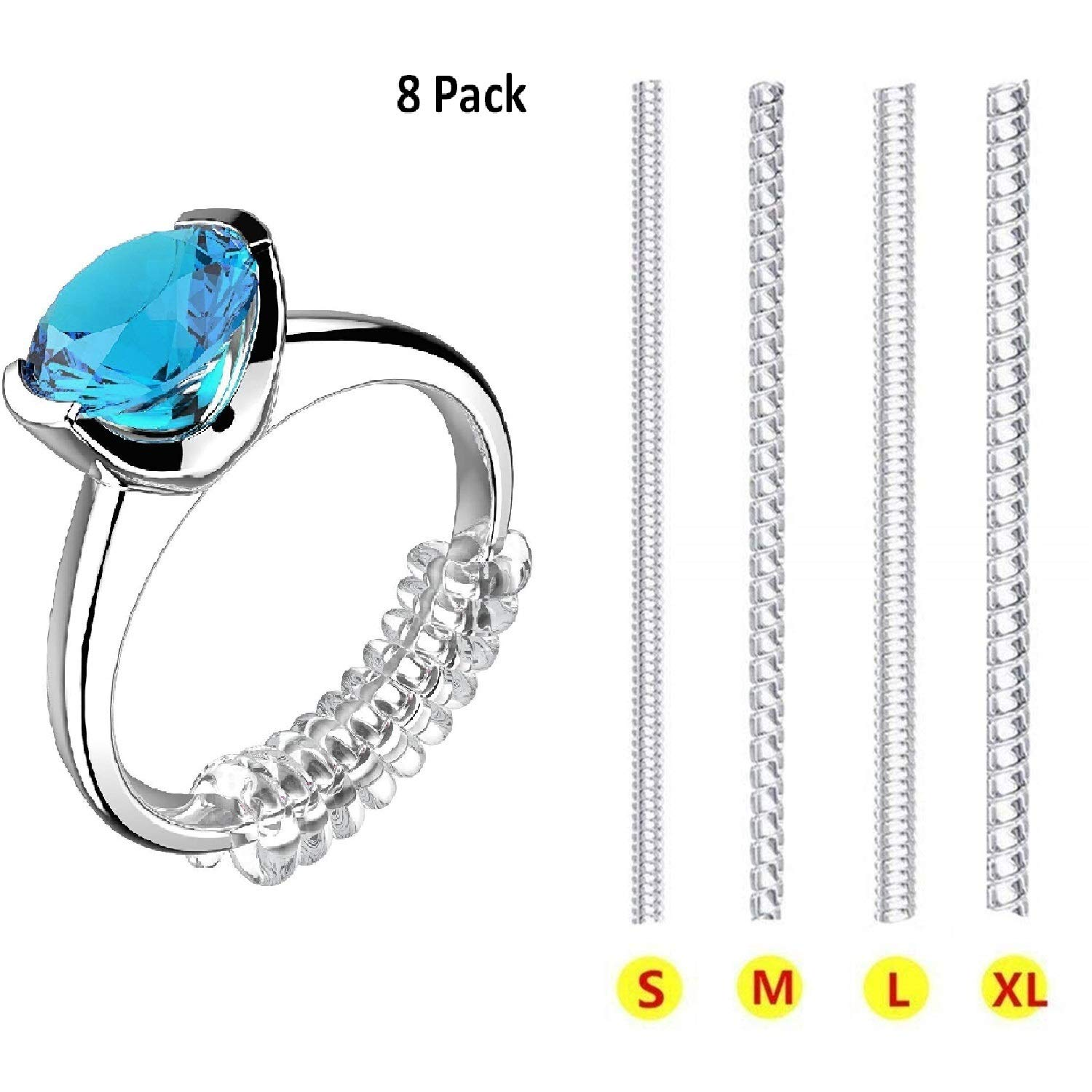 Ring Size Adjuster for Loose Rings Invisible Transparent Silicone Guard Clip Noodle Jewelry Tightener Resizer 4 Sizes Fit Almost Any Ring 8 Pack FX JZS8PCSUSA