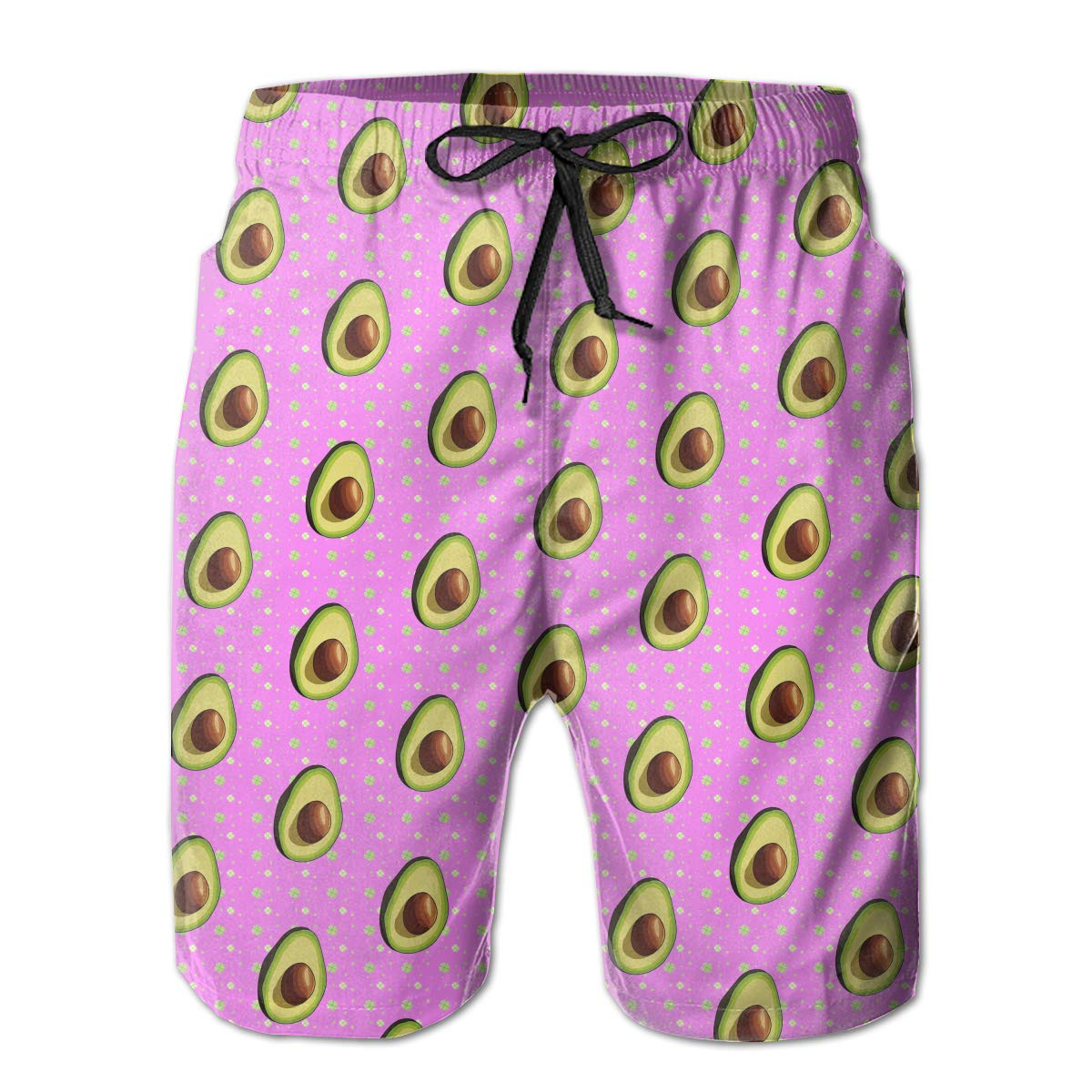 MikonsuAvocado Pattern Pink Mens Beachwear Surfing Boardshorts with Pocket