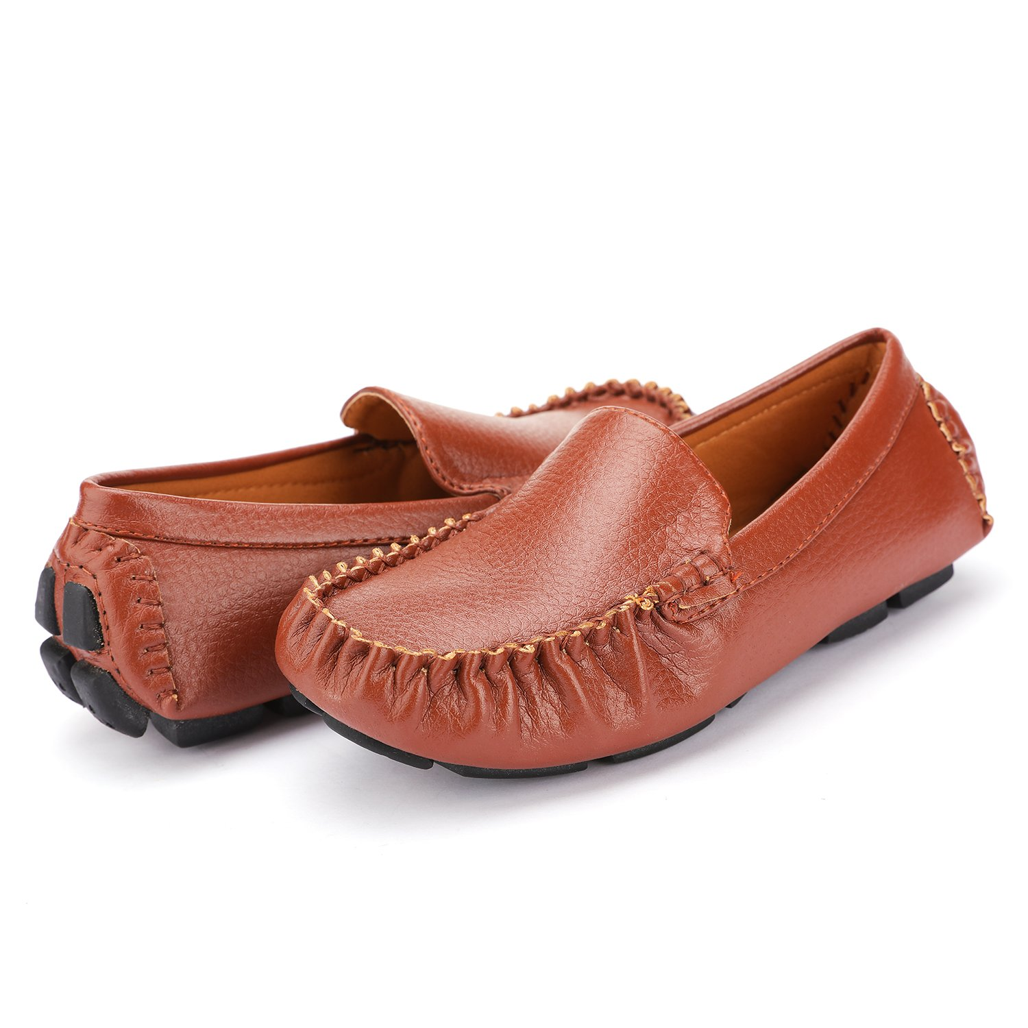 UBELLA Boys Casual Synthetic Leather Loafers Slip On Boat Dress Shoes Flat Toddler//Little Kid