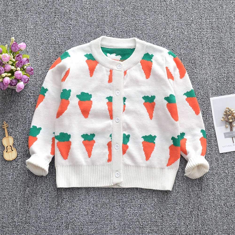 Baby Girls Coats Toddler Kids Long Sleeve Carrot Print Knit Cardigan Outwear Clothes