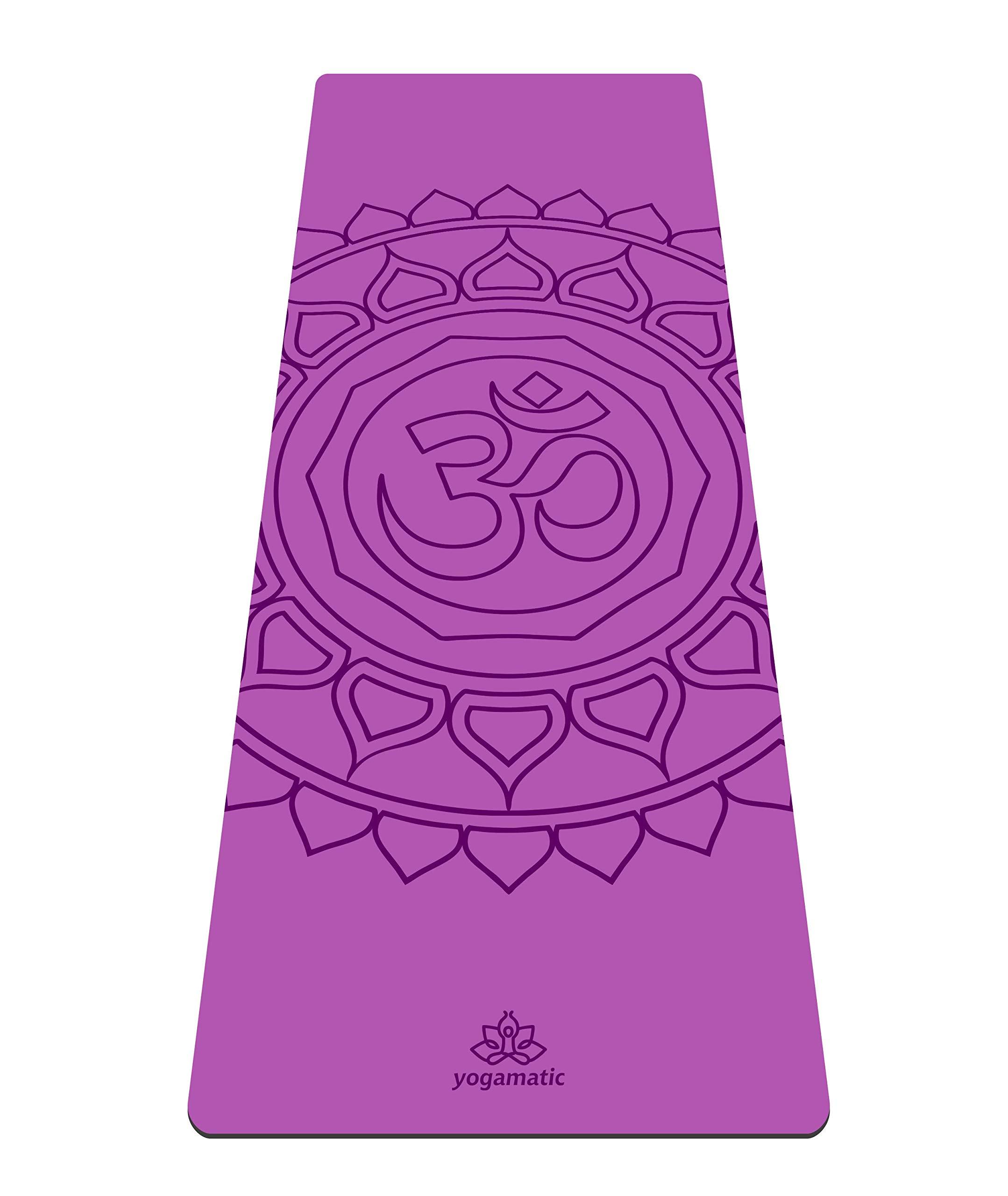 Artmatic Premium Eco Friendly Yoga Mat - Hamsa Grey/Natural Rubber Base + Non Slip top/The Best GripForMe System/with Original Unique Alignment (Om Purple)