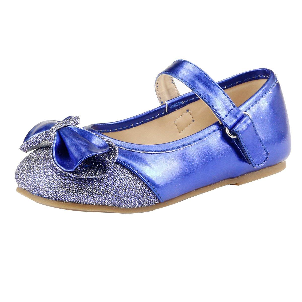 Toddler Sz 10 Girls Dress Shoes Glitter Wedding Party Sparkle Shine Blue