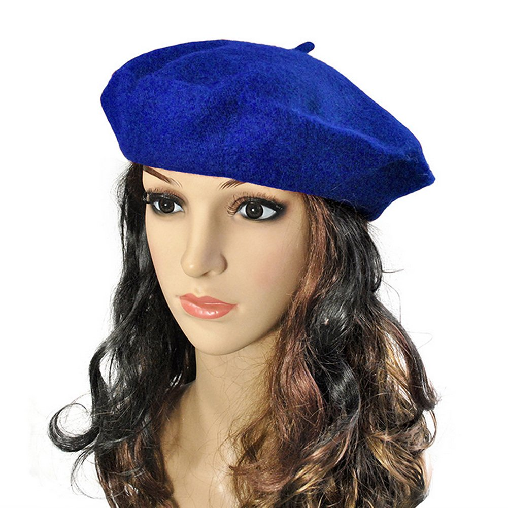 Joymee French Style Beret Artist Hat Beret Hat Wool Beanie Hat Cap(Royal)