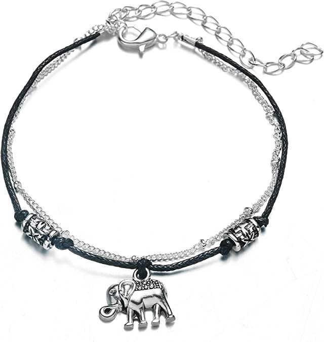 FL BEAUTY Tassel Fishtail and Sea Wave Charms Beach Ankle Bracelets Silver Plated 2 Layer One Set Adjustable Anklet Bracelet