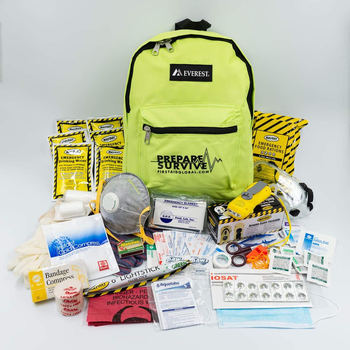 PrepareSurvive Backpack for Disaster Preparedness with Dynamo Radio/Flashlight & iOSAT KI Tablets by PrepareSurvive