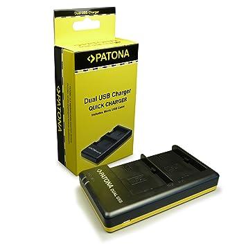 PATONA Cargador de batería doble LP-E6 | LPE6 con Cable Micro-USB para Canon EOS-70D | 60D | 60Da | 7D | 6D | 5D | Mark II | Mark III