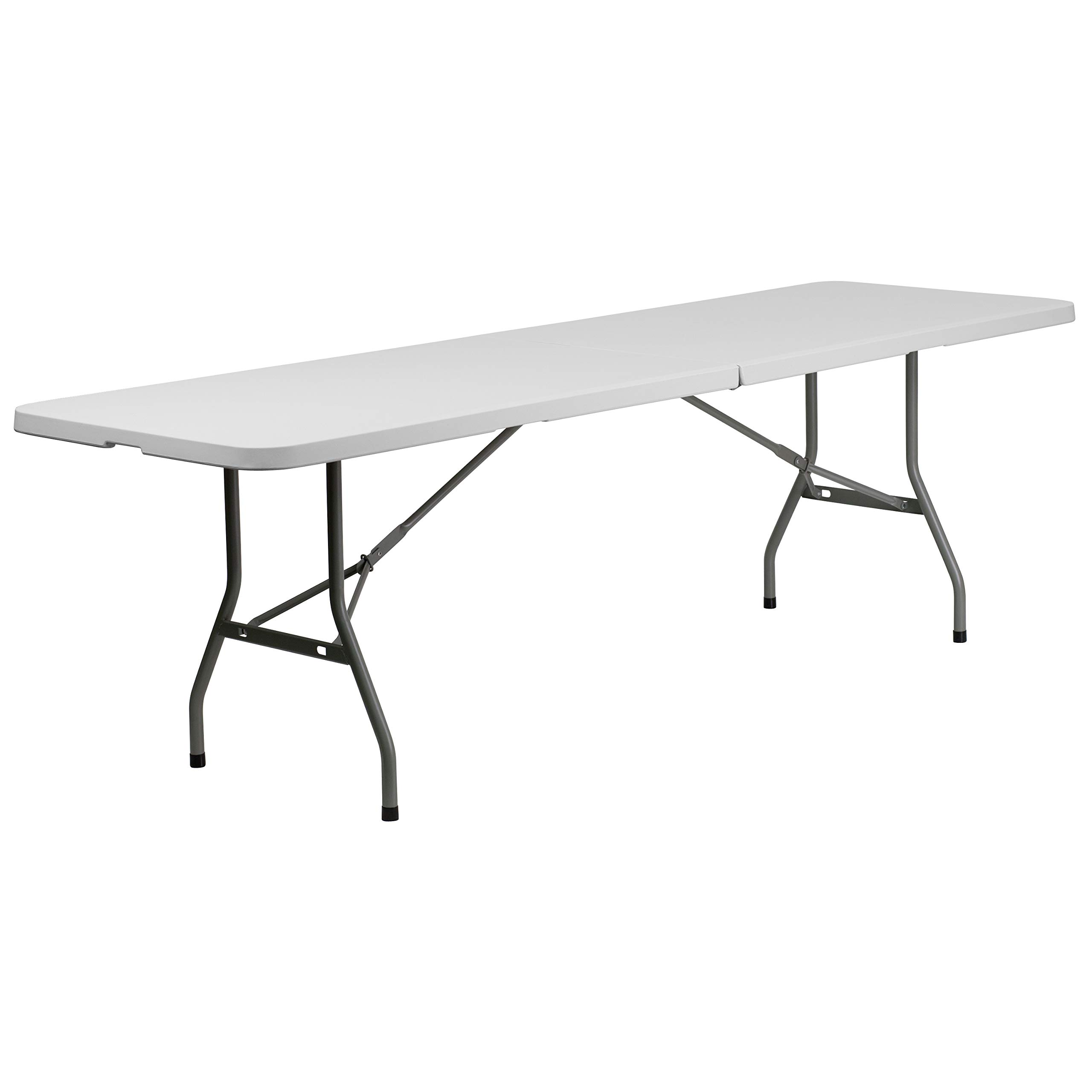 Flash Furniture 8-Foot Bi-Fold Granite White Plastic Banquet and Event Folding Table with Carrying Handle by Flash Furniture