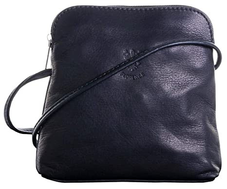 d257809dee68 Real Italian Soft Leather Black Cross Body Shoulder Bag Handbag   Amazon.co.uk  Luggage