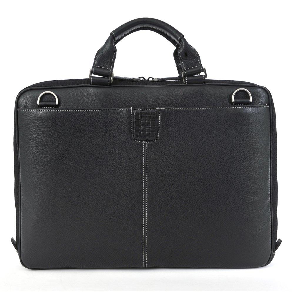 Boconi Tyler Tumbled Leather Portfolio Brief Black