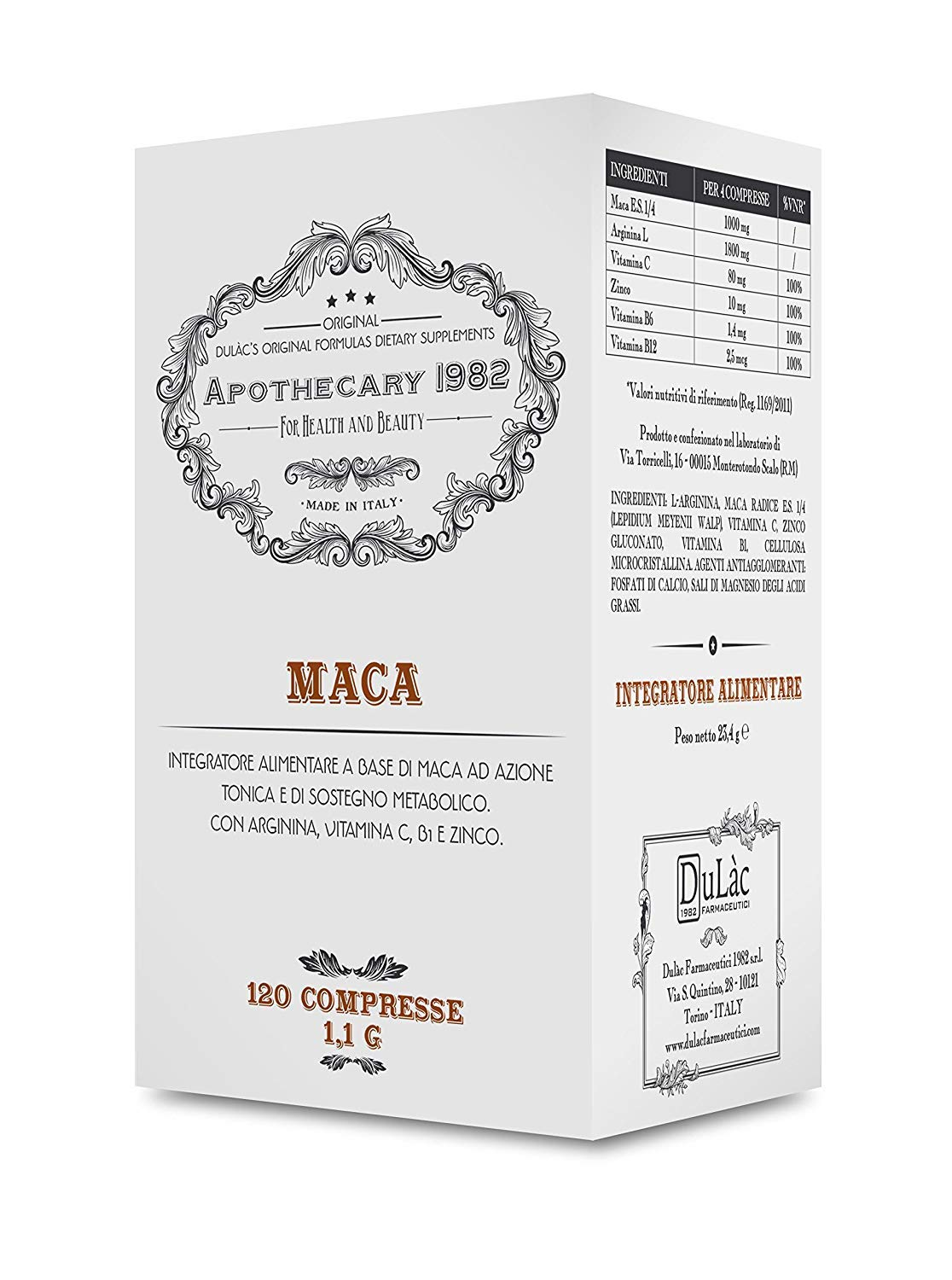 Amazon.com: Apothecary 1982 - Maca + L-Arginine + Zinc and Vitamins B/C - 120 Tablets – Tonic and Aphrodisiac - 100% Made in Italy: Health & Personal Care