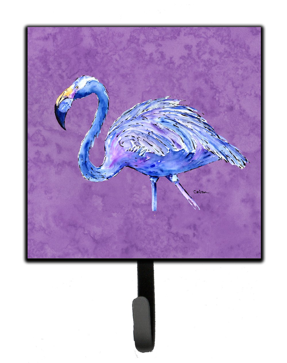 Multicolor Carolines Treasures 8874SH4 Flamingo On Purple Leash or Key Holder Small