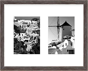 Golden State Art, 11x14 Distressed Coffee Wood Frame with White Mat - Displays Two 5x7 Photos - Real Glass, Sawtooth Hangers, Swivel Tabs - Wall Mounting, Landscape, Portrait