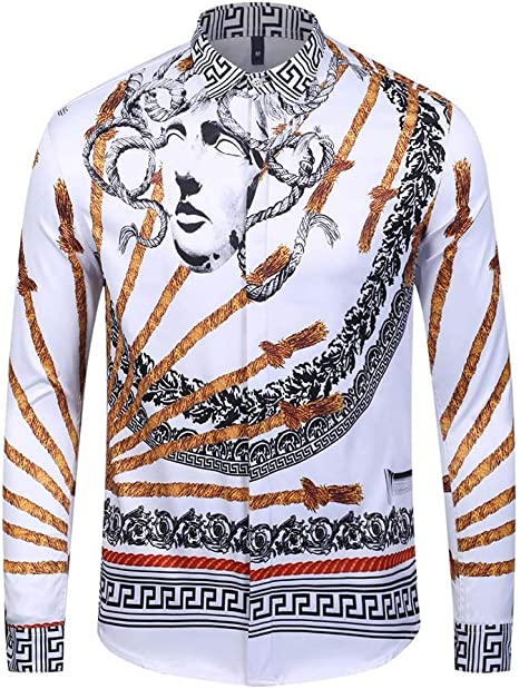 NMSL Camisas Estampadas Divertidas para Hombre Cuello Abotonado Tops de Manga Larga Camisa de Disfraces Hawaiana de Navidad para la Fiesta del Festival Ropa Informal,XXL: Amazon.es: Deportes y aire libre