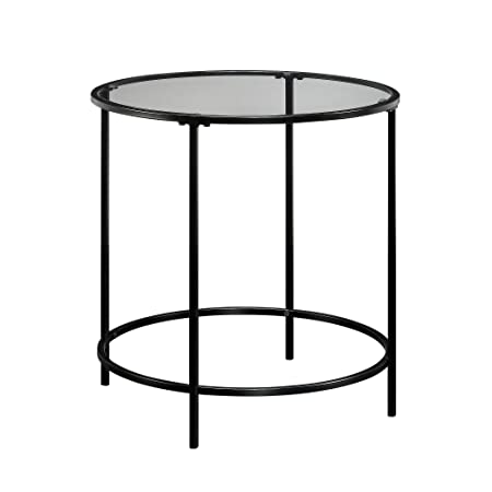 Sauder 414969 Harvey Park Side Table, L 22.01 x W 22.01 x H 22.01 , Black Clear Glass
