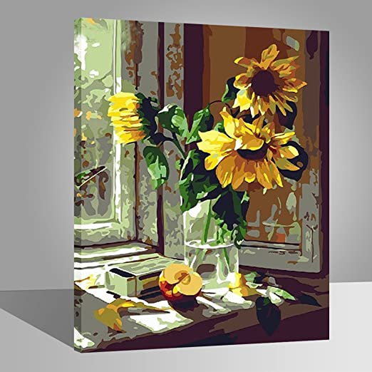 LIUDAO DIY Oil Painting for Adult Yellow Sunflower Vase Without Frame, 16x20 Inches Paint by Numbers Kit