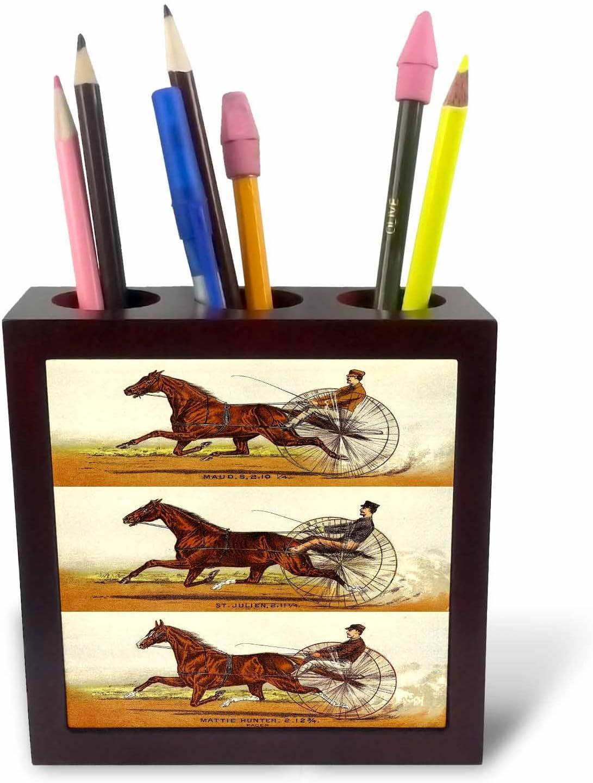 3dRose ph_58546_1 Old Time Harness Racing Tile Pen Holder, 5-Inch