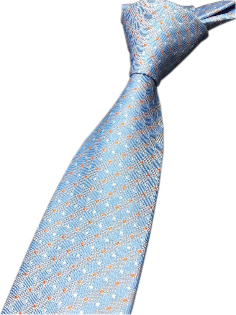 Mens Repp Soft Blue White Orange Pin Dot Ties Woven Working Summer Suit Neckties