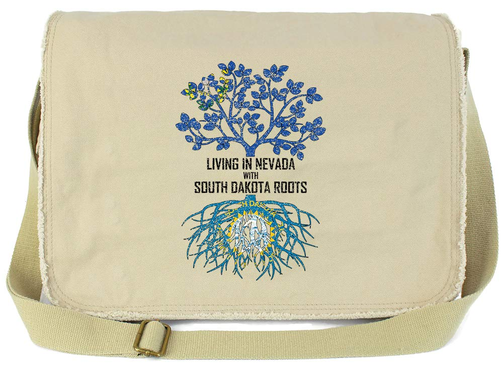 Tenacitee Living In Nevada with South Dakota Roots Grey Brushed Canvas Messenger Bag