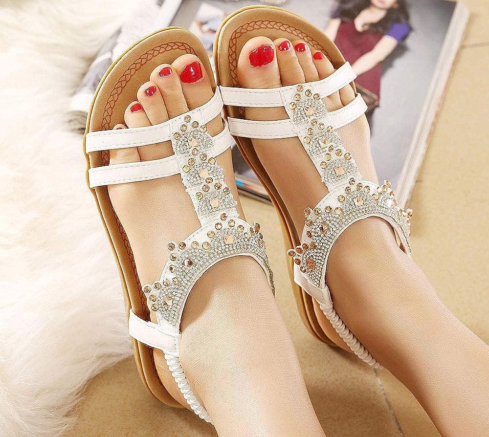 Lemontree Fashion perl/ée clip Toe Flats Femmes Sandales Herringbone Boh/ême 282