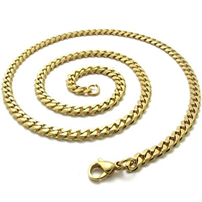 Collares para hombre - SODIAL(R)cadena de joyeria de hombres, collar de cadena de acero inoxidable dorado ¨C anchura de 4mm