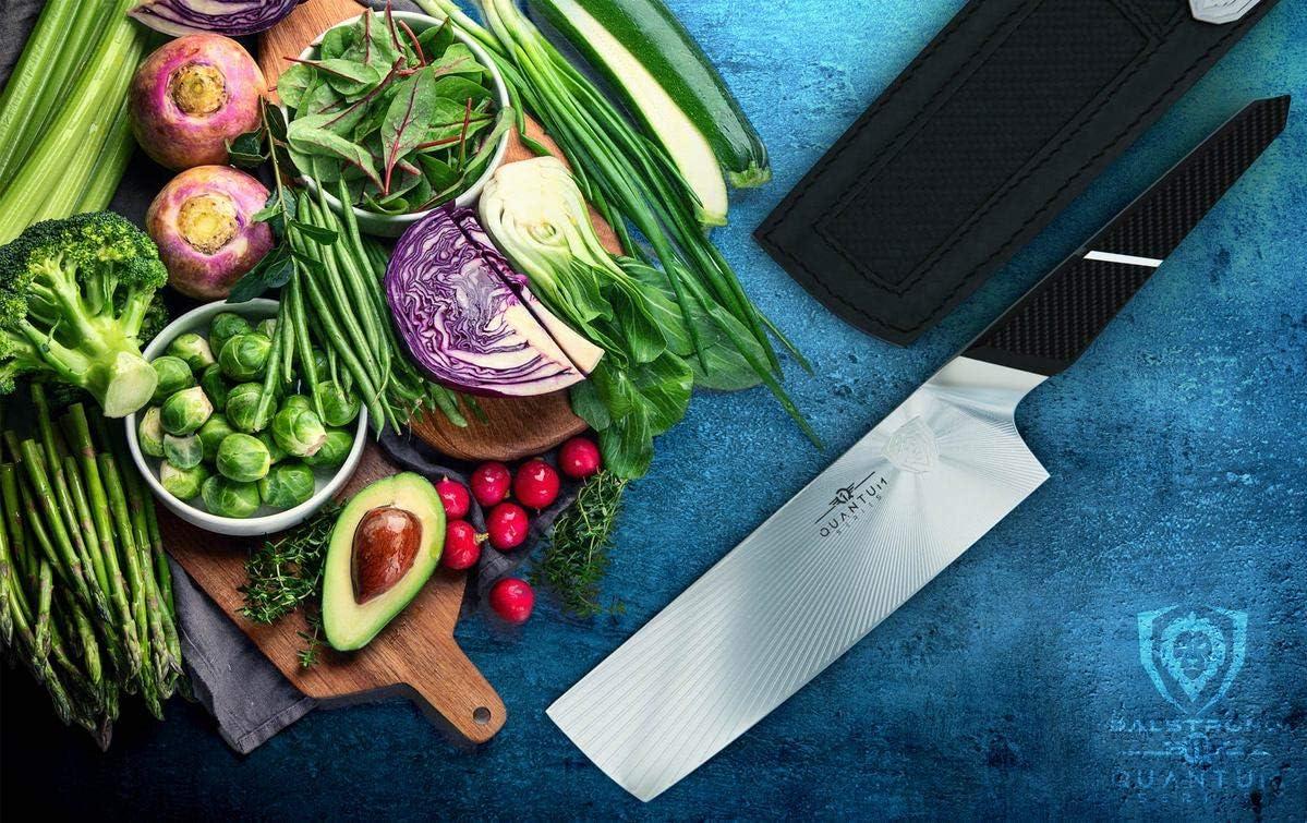 "DALSTRONG - Nakiri & Vegetable Knife - 7"" - Quantum 1 Series - American Forged BD1N-VX High-Carbon Steel - Carbon Fibre G10 Hybrid Handle"