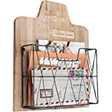 Rustic Wood & Wire Wall-Mounted Magazine Rack Hanging File Holder Office Folder Mail Organizer