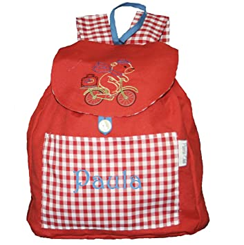 Mochila oso en bicicleta confeccionada en loneta roja y personalizada con nombre (28 x 30 x 14 cm. aproximadamente): Amazon.es: Bebé
