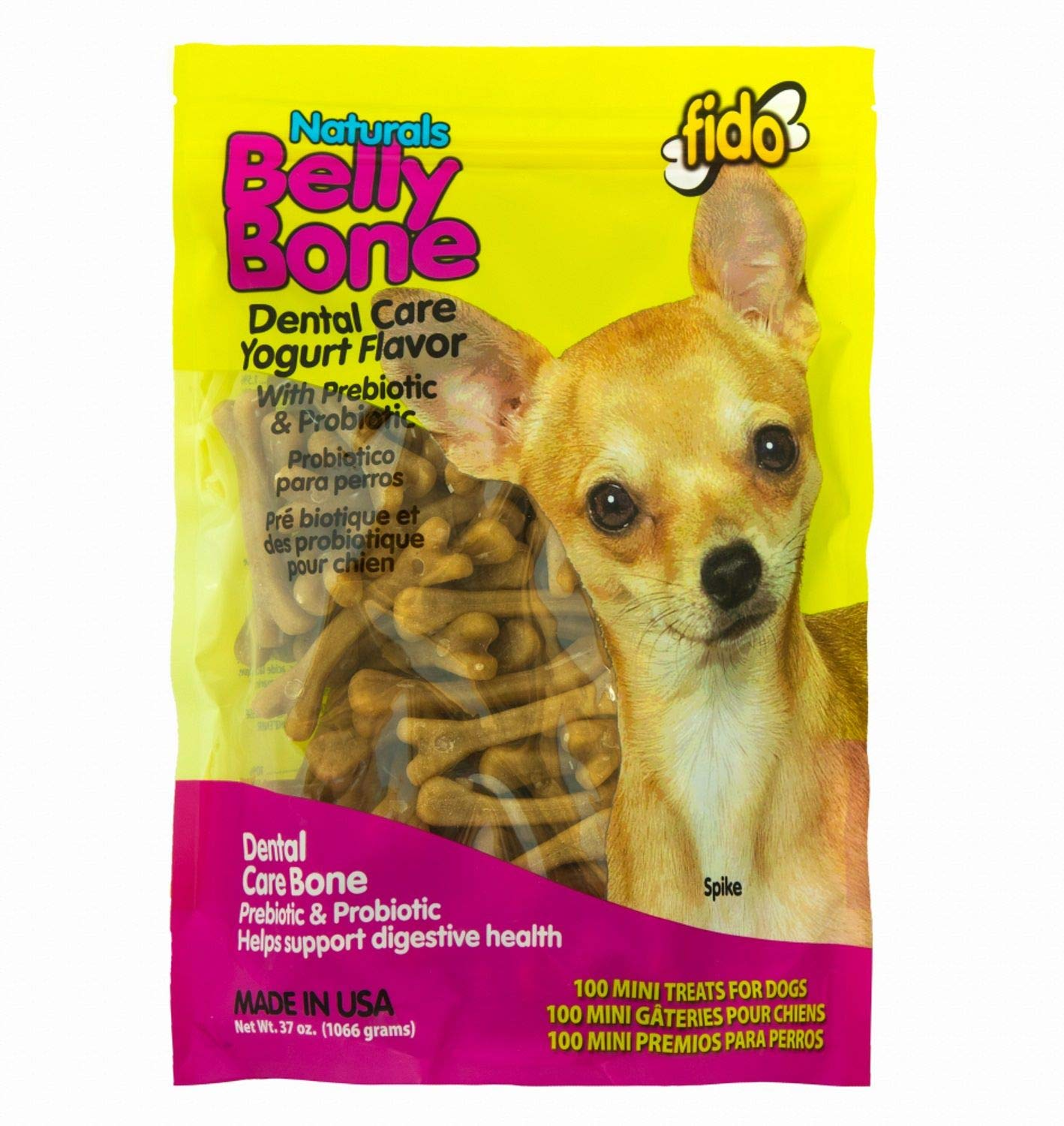 Fido Belly Dog Bone, Digestion Aid w Prebiotic Probiotic Enzymes for Dogs