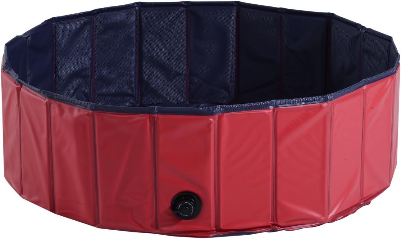 PawHutBañera para Perros Gatos Plegable Piscina para Mascotas Natación Baño Φ100x30cm Color Rojo