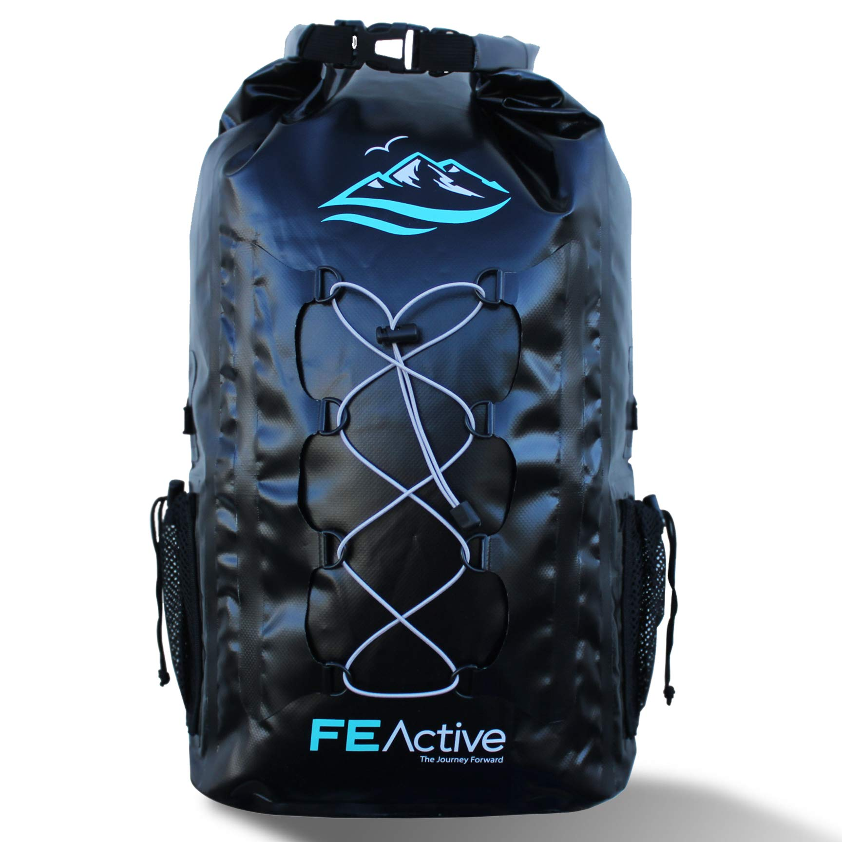 FE Active - 30L Eco Friendly Waterproof Dry Bag Backpack Great for All Outdoor and Water Related Activities. Padded Shoulder Straps, Corded Exterior and Mesh Netting for Increased Carrying Capacity by FE Active