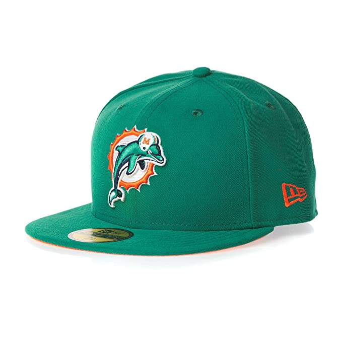 4d175ab6a7a Amazon.com   NFL Mens Miami Dolphins On Field 5950 Aqua Cap By New Era    Sports Fan Baseball Caps   Clothing