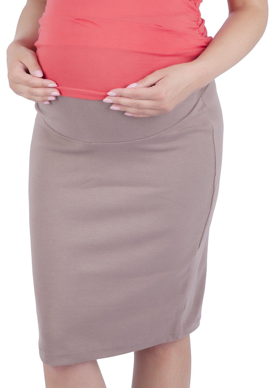 Mija - Maternity pregnnacy jersey skirt with soft panel 3045 (US 10/12, Cappuccino)