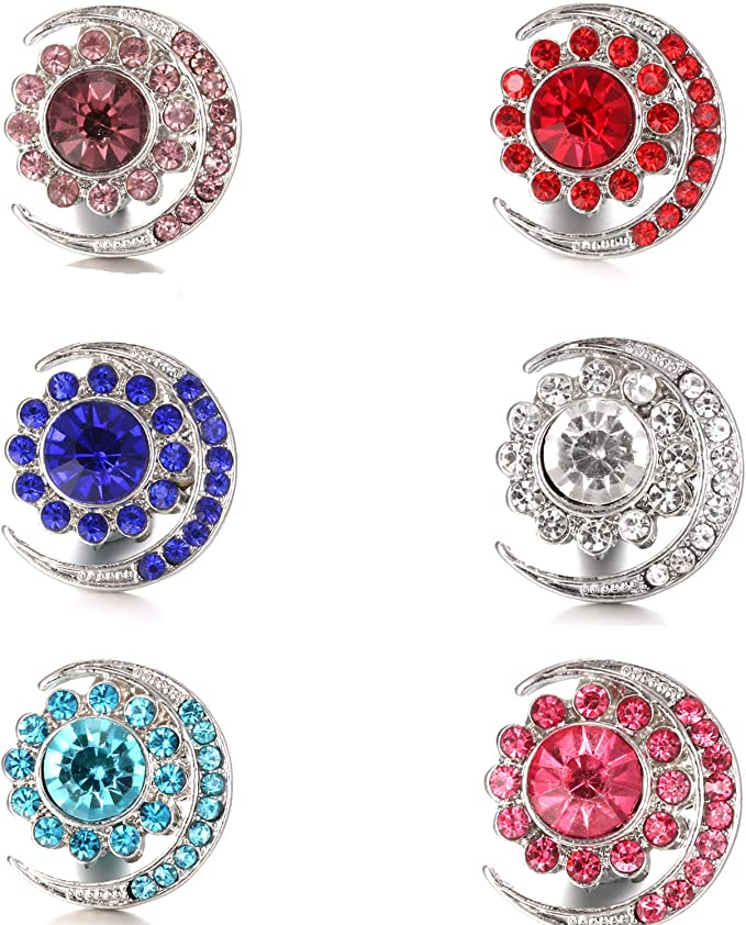 Ginooars Pack of 4 Colorful Rhinestones Snaps Charms for Ginger Snap Jewelry