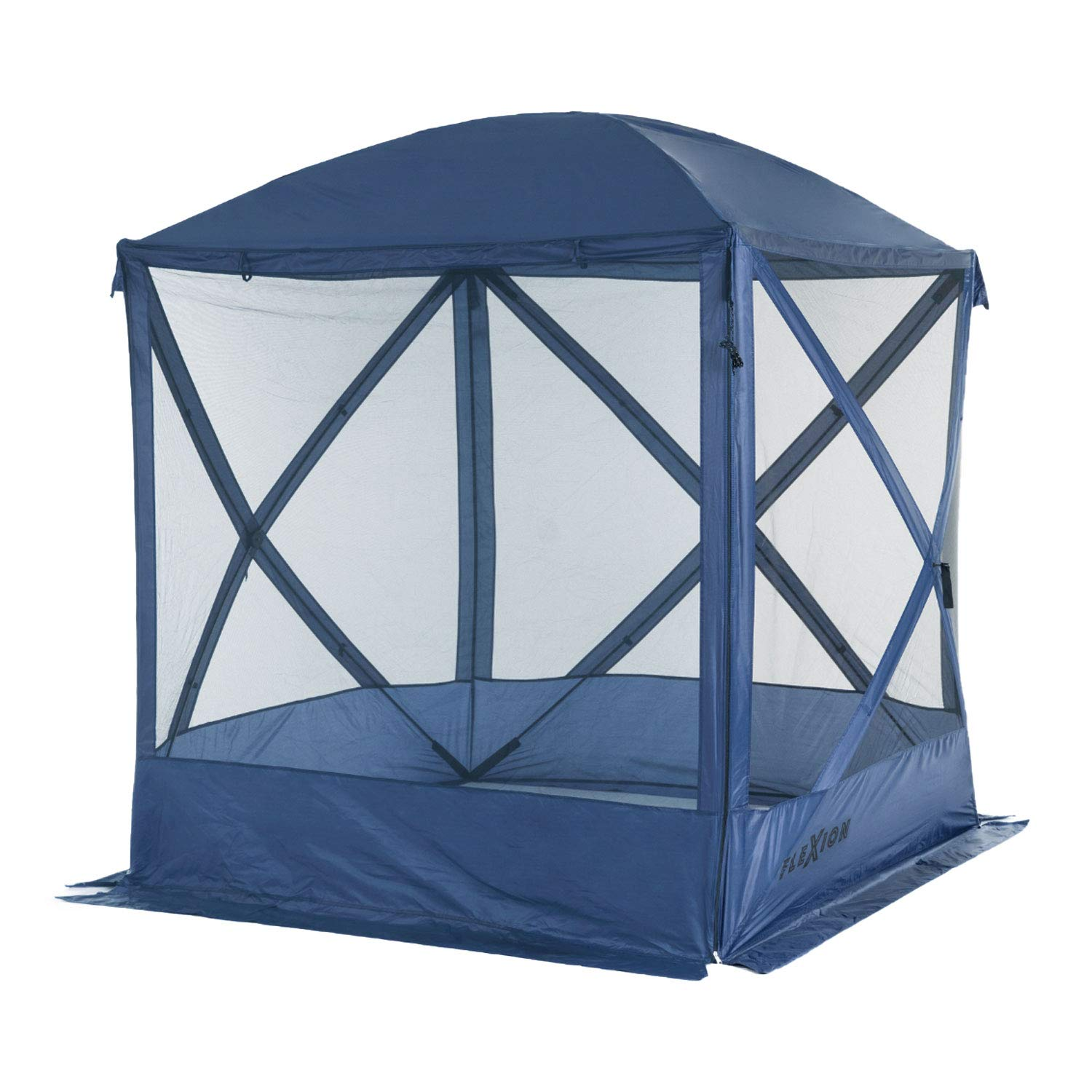 SlumberTrek 3036042LOW-VMI Flexion Lightweight Outdoor 4 Sided Pop Up Gazebo Canopy Shelter with Mesh Screen Netting and Carrying Bag, Navy Blue