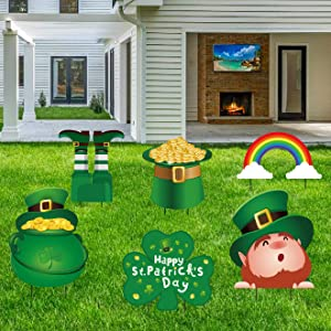 Geefuun St. Patrick's Day Yard Sign Decorations - Leprechaun/Shamrock/Irish Saint Patty's Day Lawn Outdoor Decor with Stakes