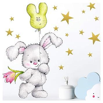 Little Deco Wandtattoo Hase mit Sterne I A4-21 x 29,7 cm I Luftballon  Wandbilder Kinderzimmer Deko Babyzimmer Junge Wandsticker Kinder  Mädchenzimmer ...