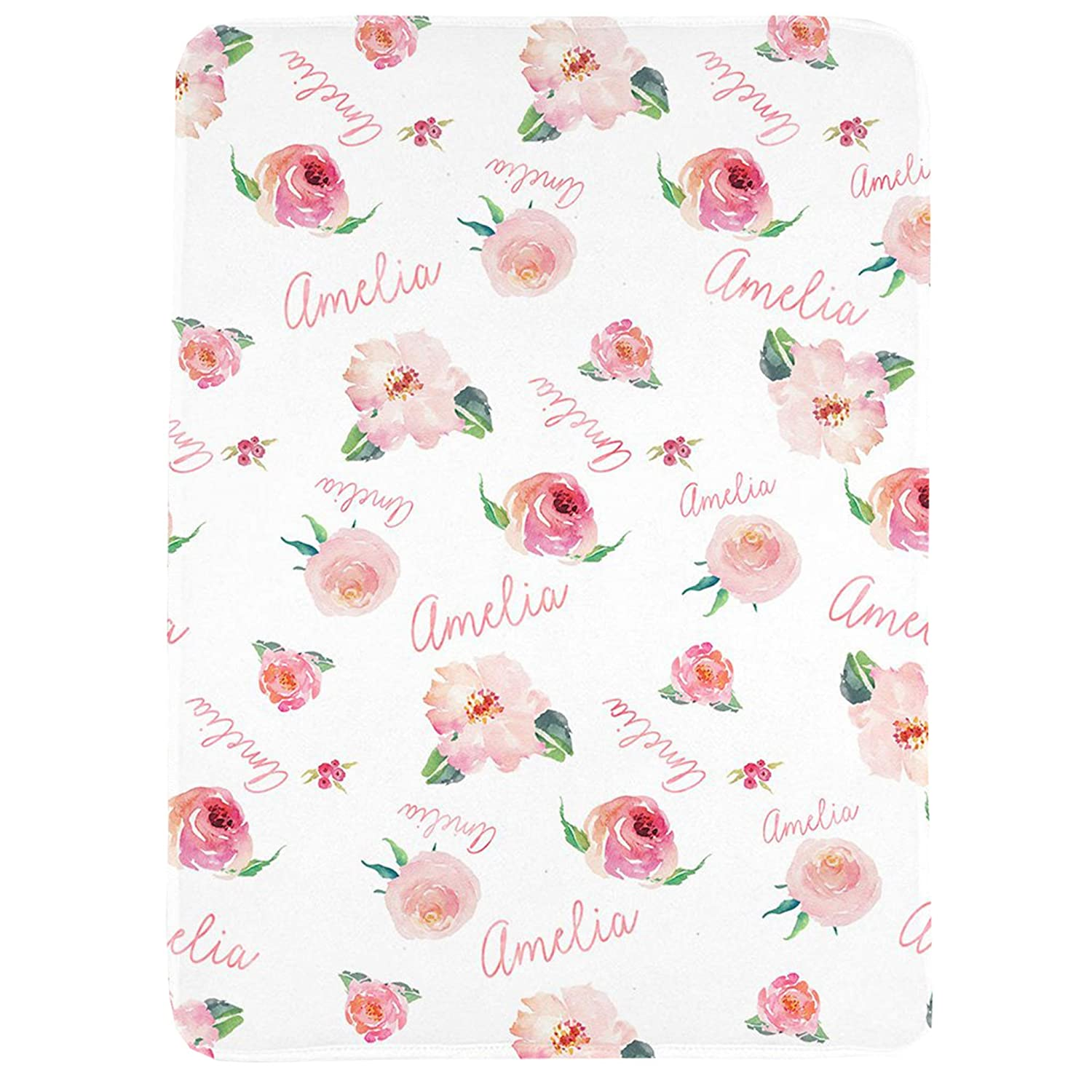 WolfeDesignPDD Personalized Baby Girl Name Blanket, Floral Watercolor Print Coral