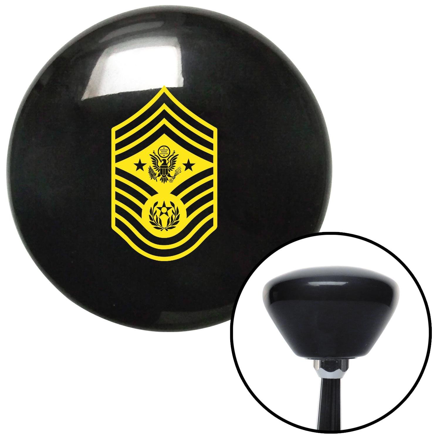 American Shifter 146346 Black Retro Shift Knob with M16 x 1.5 Insert Yellow Chief Master Sergeant of The Air Force